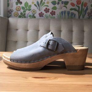 Grey Clogs with Blue Undertones